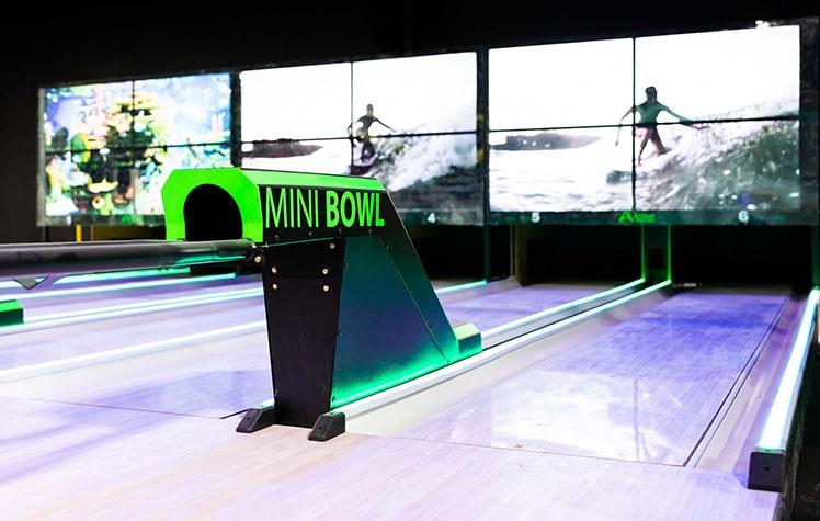 mini bowling lanes at tex