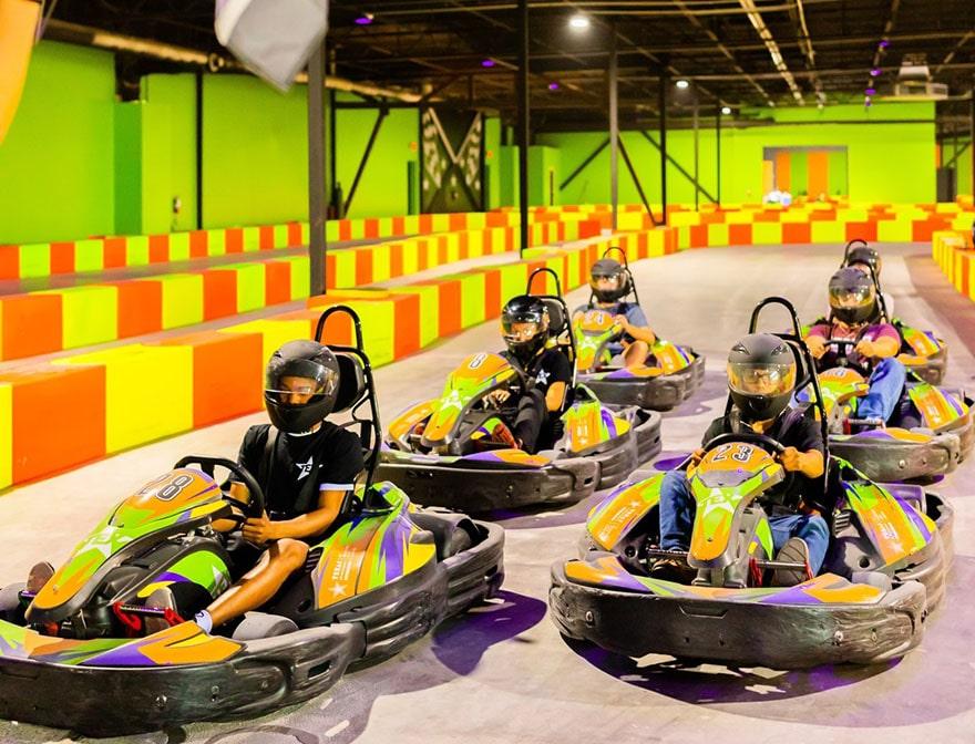 racing on gokarts at tex